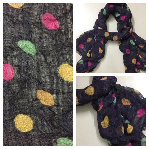 Rectangular - Colorful Polka dots on netted Grey Black Scarf