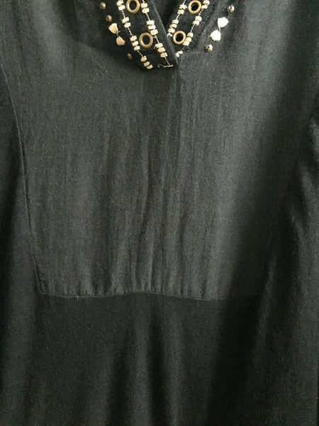 Casual Black Top with Bronze rings