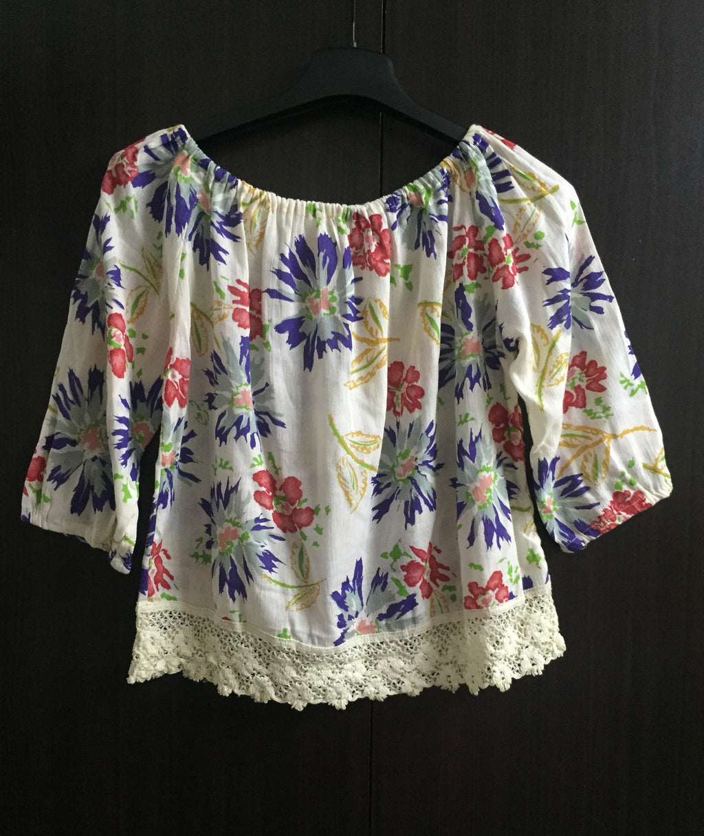 Vibrant Cream Off Shoulder Top - with lace