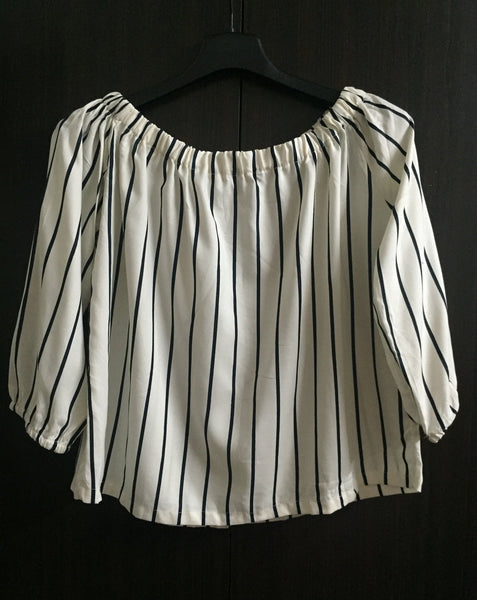 Stripes (Thin) - Cream and Navy Blue Off shoulder top.