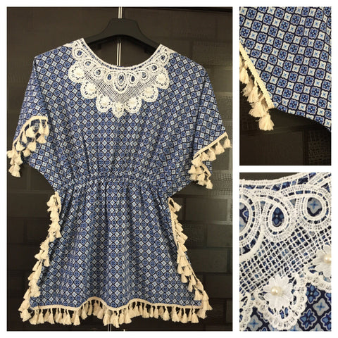 Pearls - Lace and Tasseled - Light - Dark Blue Printed Top