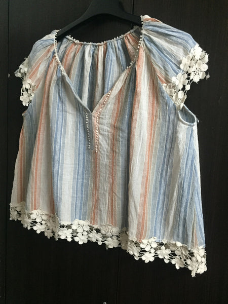 Pretty Blue & Orange Casual Top