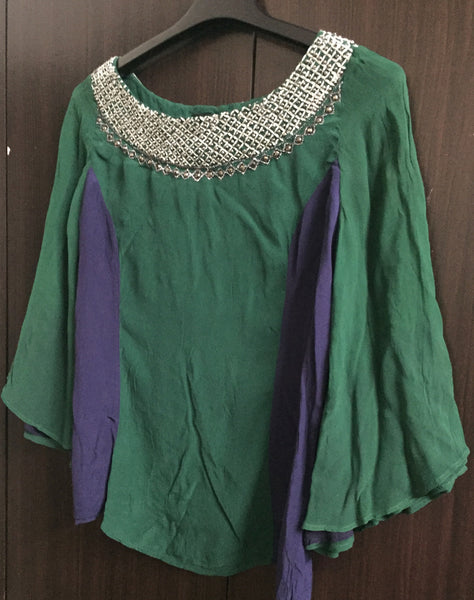 Pretty Blue and Green Party wear top