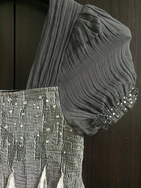 Elegant Grey Dress with Beautiful Black Thread work.
