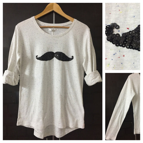 Mustache - Multi color Spotted White Full Sleeves Tee with Black Sequins