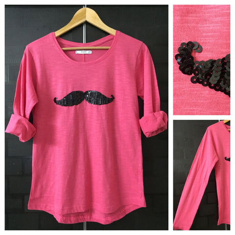 Mustache - Pretty Pink Full Sleeves Tee with Black Sequins