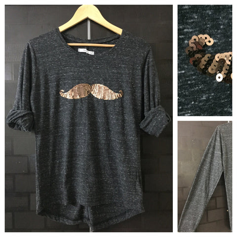 Mustache - White thread on Grey Full Sleeves Tee with Bronze Sequins