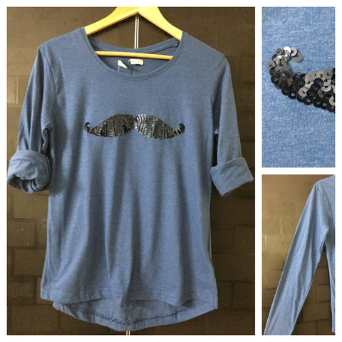 Mustache - Pretty Blue Full Sleeves Tee with Vibrant Blue Sequins