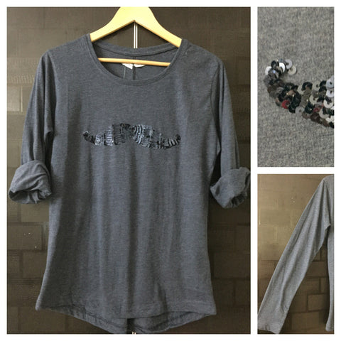 Mustache - Grey Full Sleeves Tee with Vibrant Grey Sequins