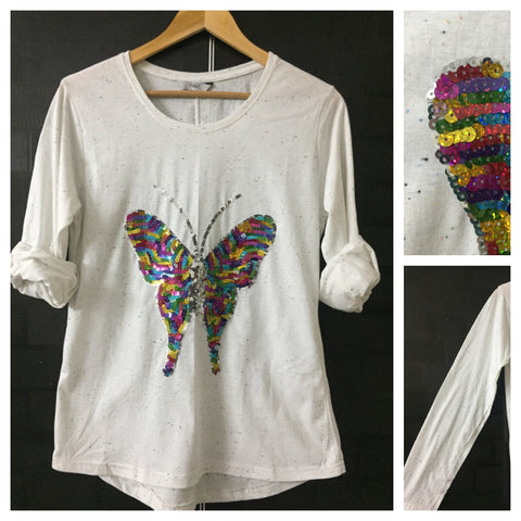 Flutterfly - Multi color thread spots on White Full Sleeves Tee with Multi color Sequins