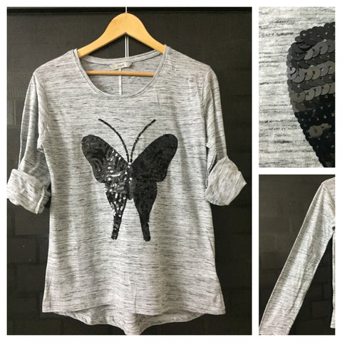 Flutterfly - Black thread stripes on Grey Full Sleeves Tee with Black Sequins