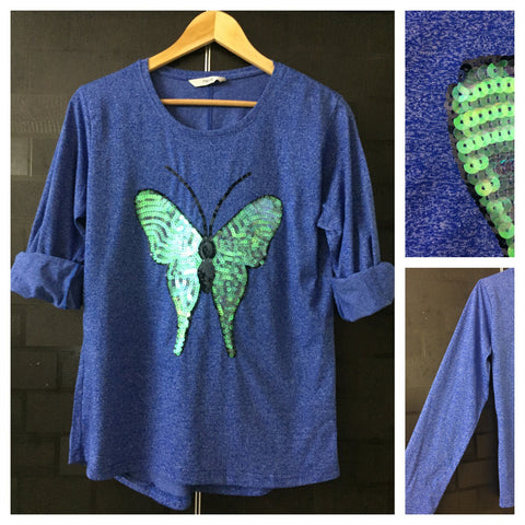 Flutterfly - White thread design on Blue Full Sleeves Tee with Shimmery Translucent Sequins