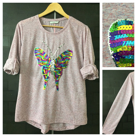 Flutterfly - Pink Blue color threads on Pink Full Sleeves Tee with Multi color Sequins