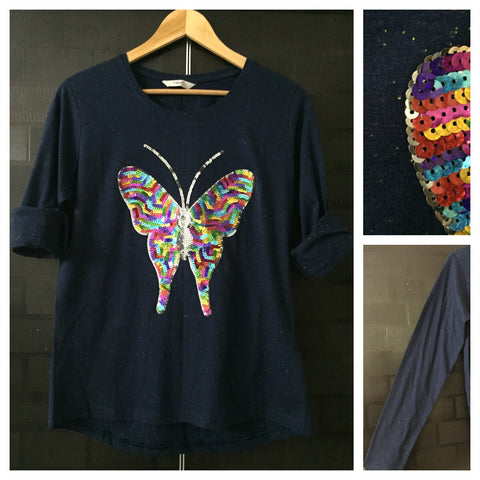 Flutterfly - Multi color thread spots on Blue Full Sleeves Tee with Multi color Sequins