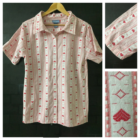 Panel of Hearts - Casual Pink & White Shirt