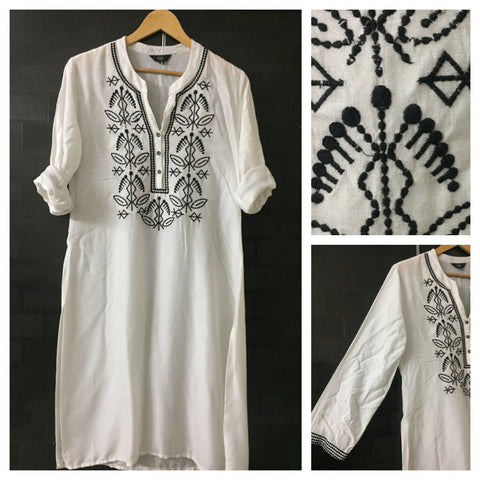Elegant White Tunic/ Kurti with beautiful black thread work