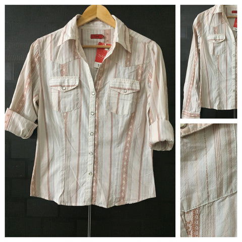 Casual - Retro Panel Print Pink and Cream Shirt