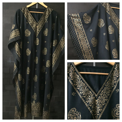 Bronze Design Printed, Kaftan Style Dress