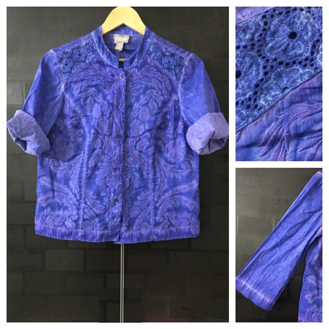 Stylish Blue Light Shirt with Pinkish Blue thread work