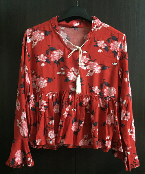 Red Floral, Loose Sleeved Top