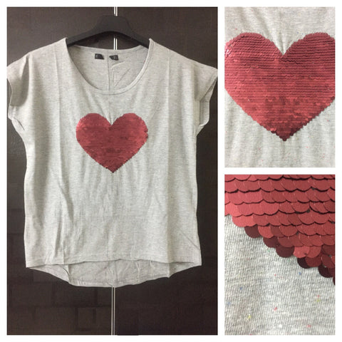Sweet Heart - Red-Blue Spots on Grey,Half Sleeves Tee with Deep Red Sequins