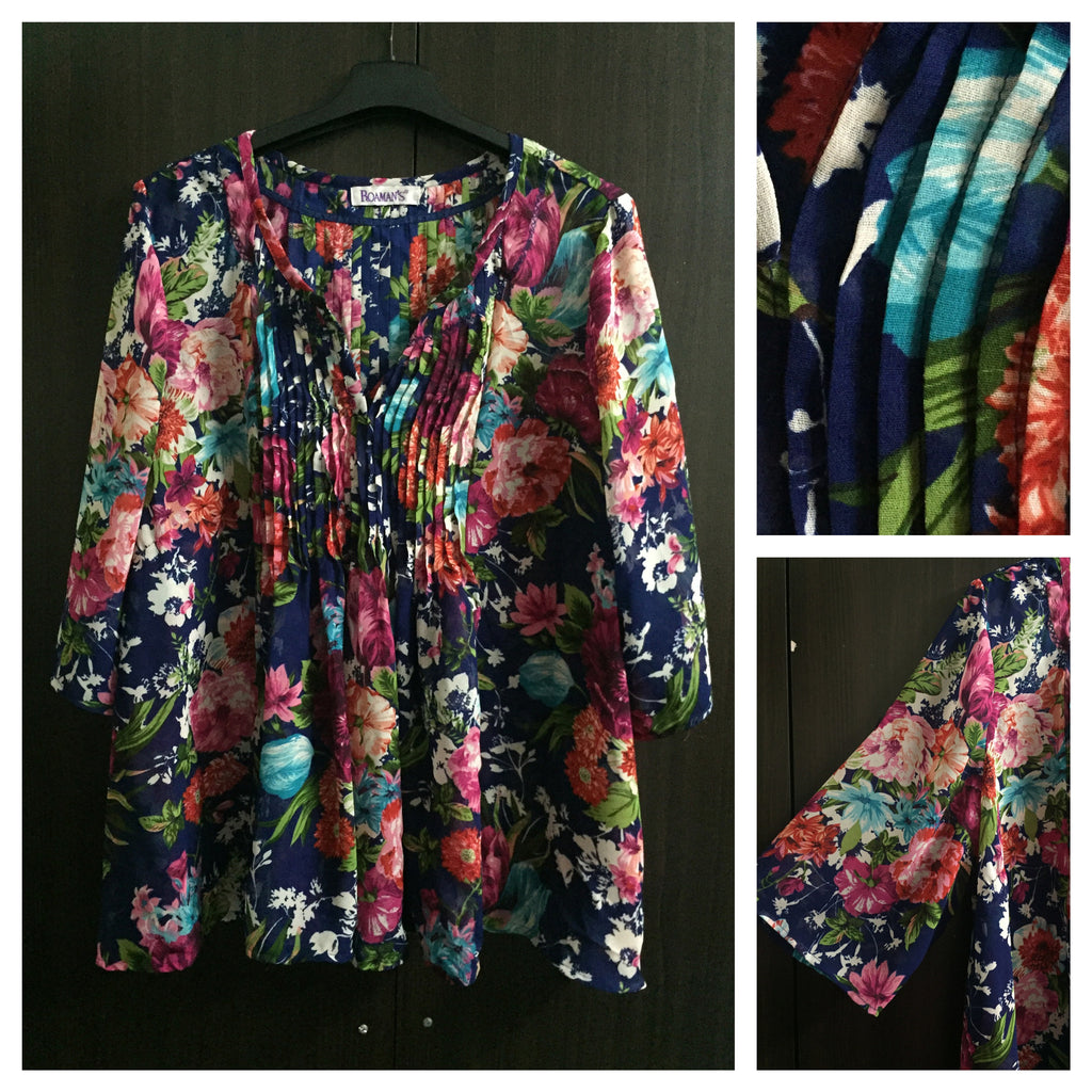 Vibrant Blue Floral Top - Comfort Fit