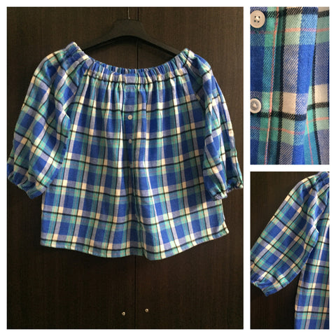 Warm Checks - Dark Blue/Light Blue/White Off shoulder top.