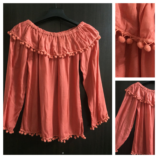 Pink Off Shoulder Top - with pompoms.