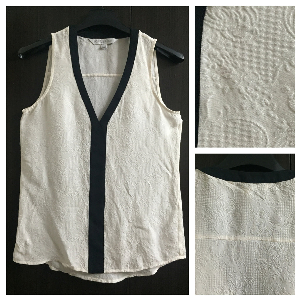 Self Print Cream Top with Black Border