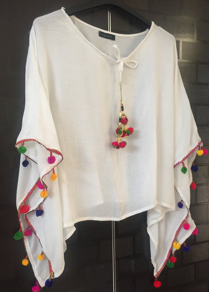 Plain Poncho Style Top - White with Colorful Pom-Poms