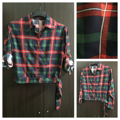 Crop Checks with Side Tie - Blue, Green and Red