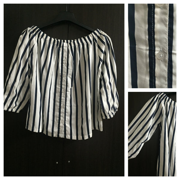 Stripes - Cream and Navy Blue Off shoulder top