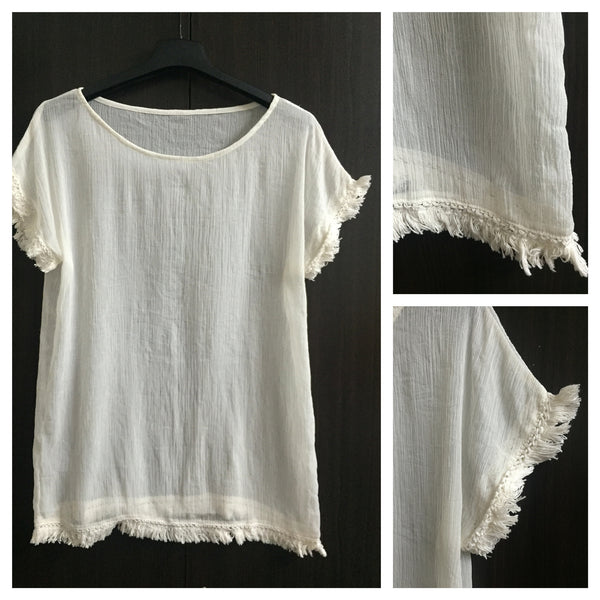 Light Cream translucent Top with cotton tassels