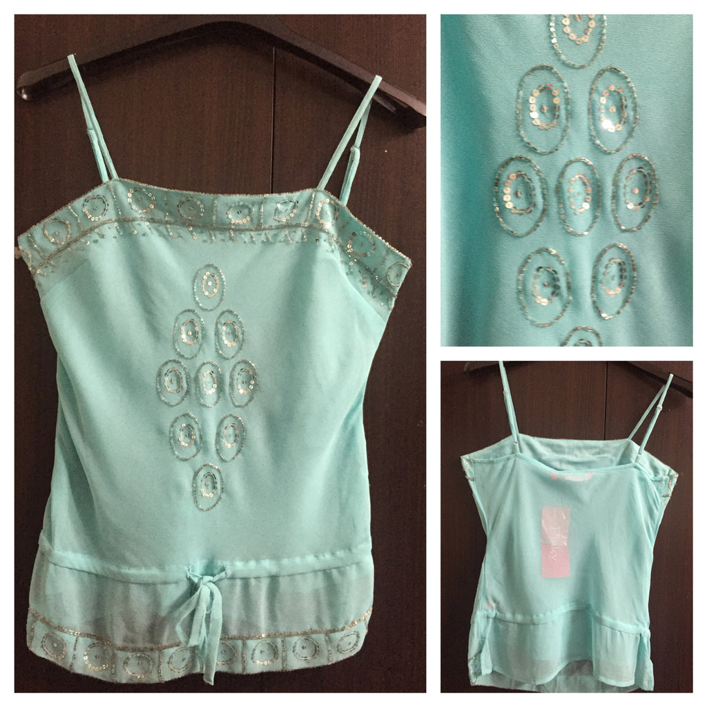 Light Blue spaghetti top with silver sequin work