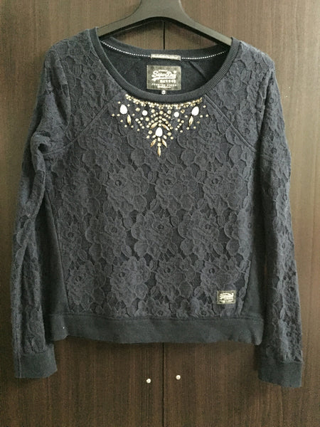 Little Warm - Navy Blue Top with sequins under neck