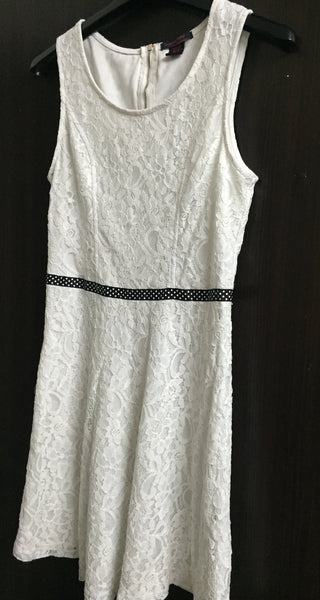 Fitted White Net dress with lining and Polka dots