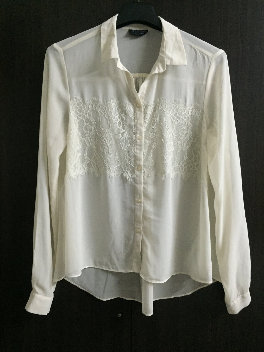 Comfy Fit - Cream High/Low shirt with Lace on front