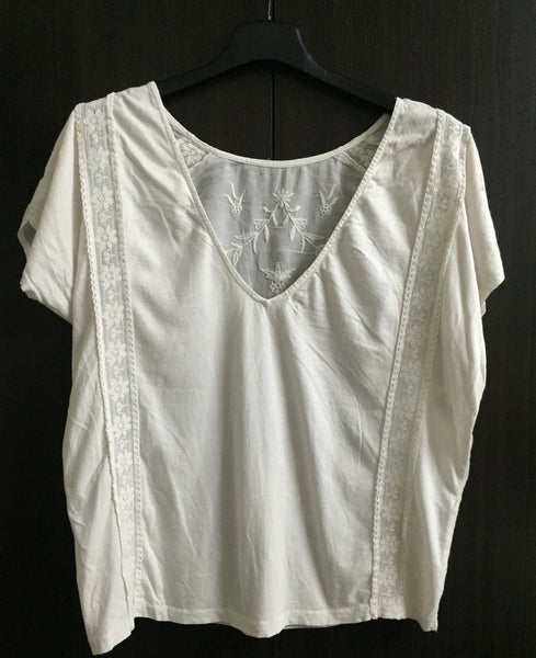 Lace and Embroidery Pretty White Top
