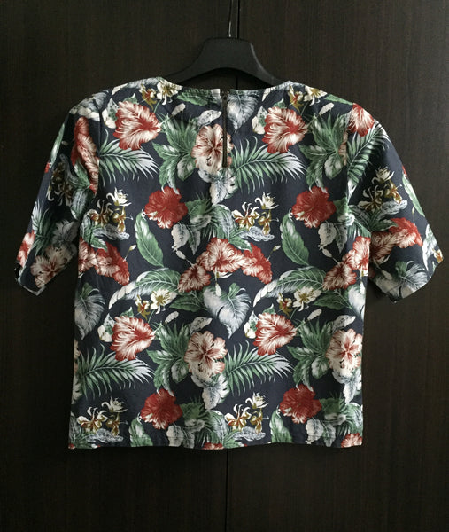 Multicolor Vibrant Floral Top with Back Zipper