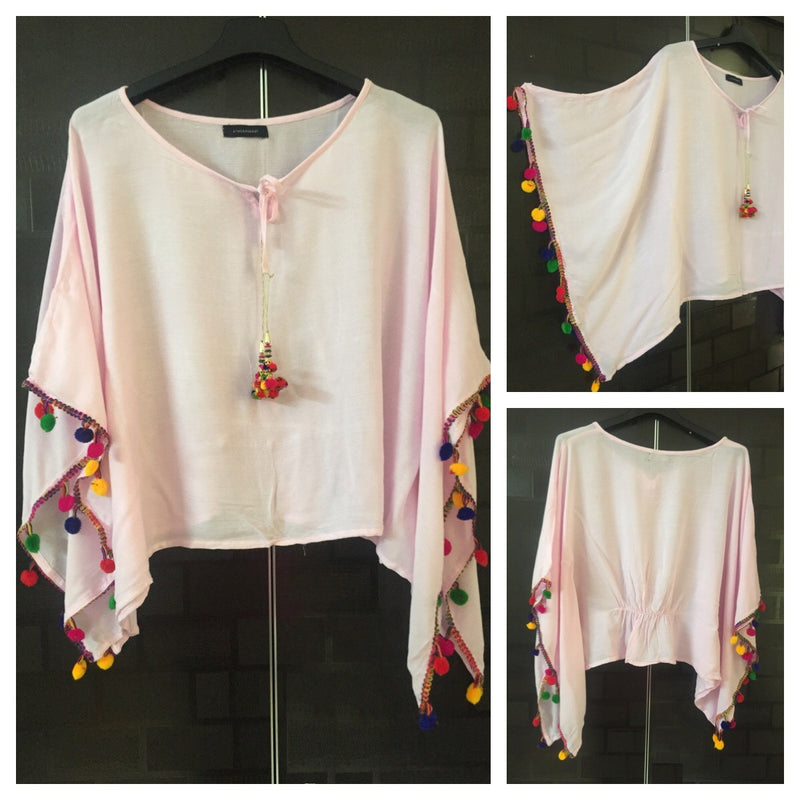 Plain Poncho Style Top - Baby Pink with Colorful Pom-Poms