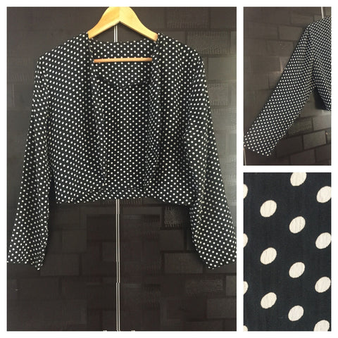 Little Shimmer - White Polka dotted - Black Light Front Open Jacket
