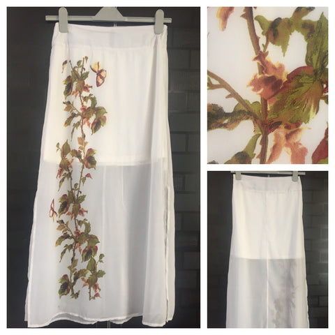 Elegant White Long Skirt with Brown - Green Print