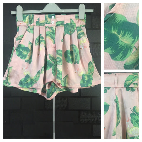 Little Shimmer - Pretty Pink & green printed shorts