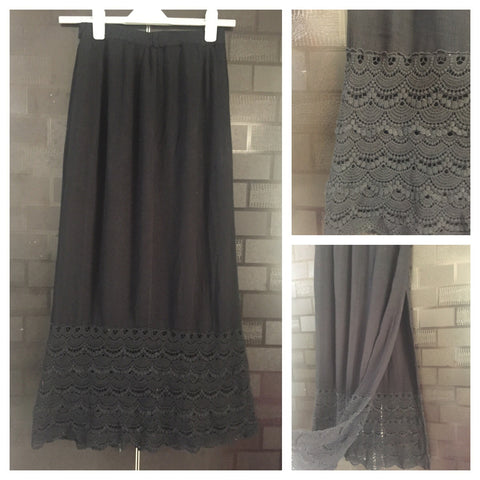 Stylish Jet Black Long Skirt with Beautiful Lace an ankle and side slit