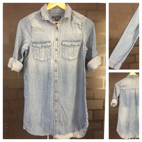Long Denim Top - Blue can also be worn as a short dress