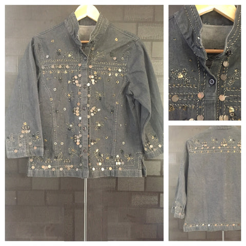 Tinkling Black Denim Jacket with bronze sequins