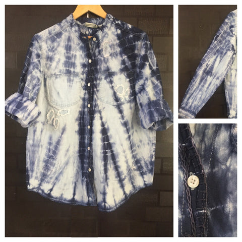 Acid Washed - Blue Denim Shirt with Patch Design