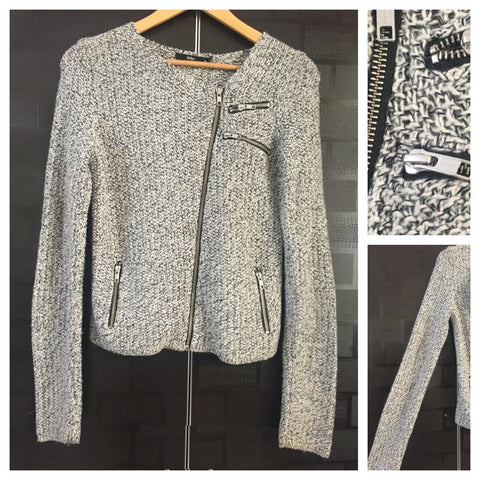 Warm - Front Tilted Zip, Stylish Black & white knitted jacket