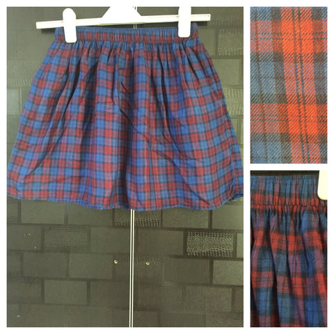 Little Warm - Winter Checks - Blue & Red skirt