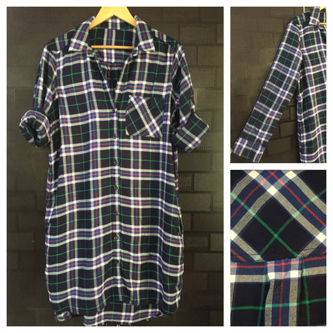 Checks - Shirtdress - Green, White and Blue Shirtdress